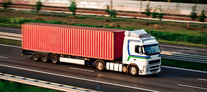 Container shipment by truck|Loaded and empty containers